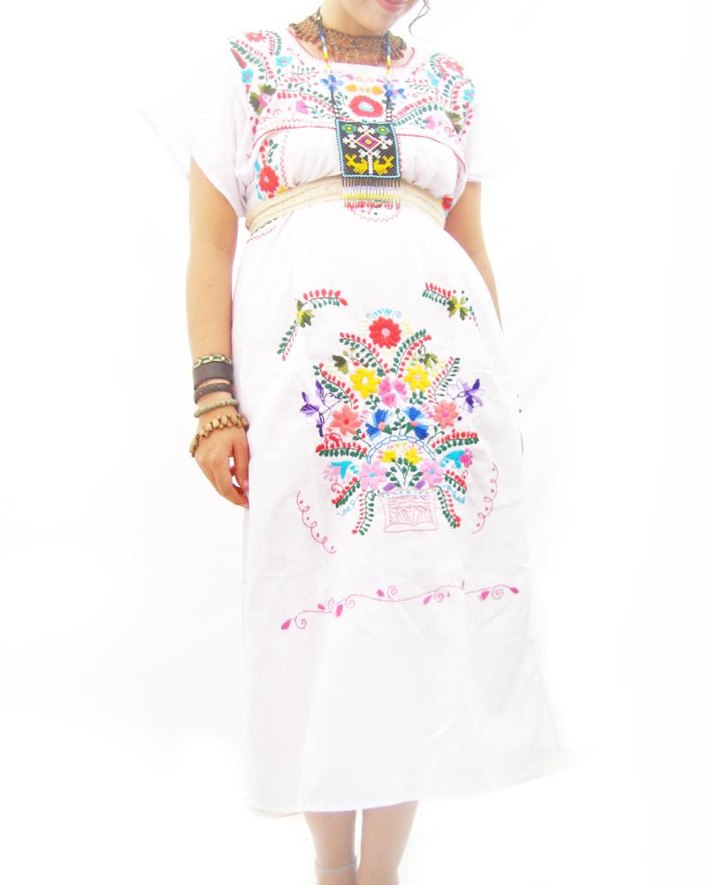 Las Nubes Traditional Mexican Dress embroidered dress