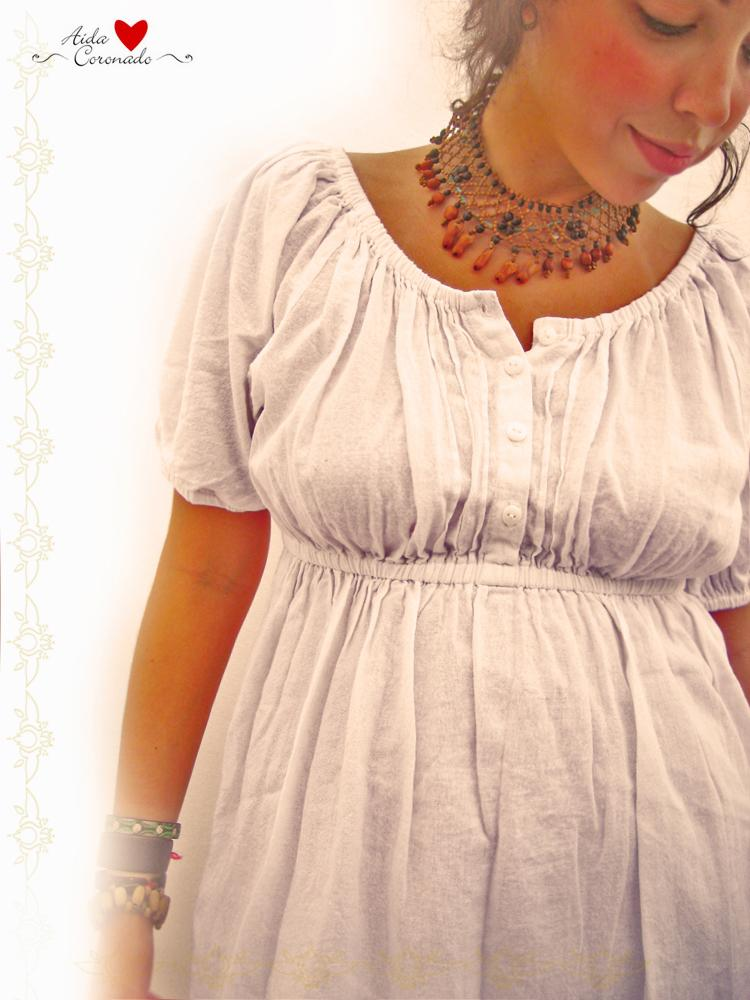 Peasant white Mexican romantic vintage style dress