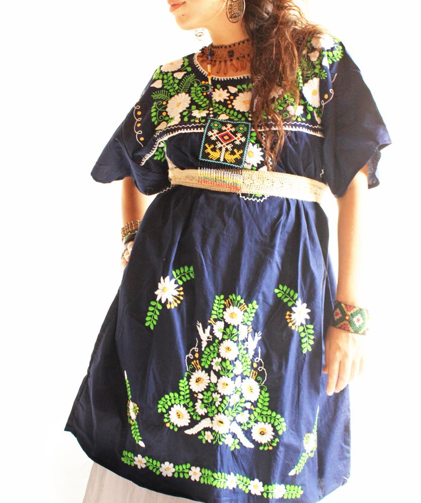 Navy blue and birds Mexican embroidered tunic dress