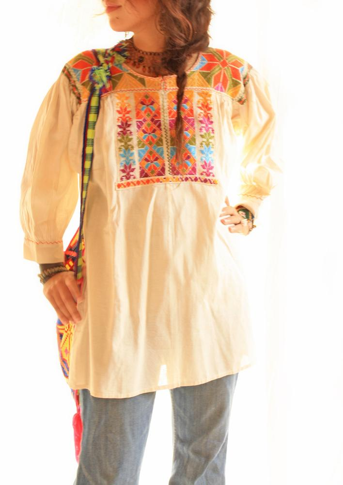 Gaia peyote flowers vig Mexican embroidered tunic top