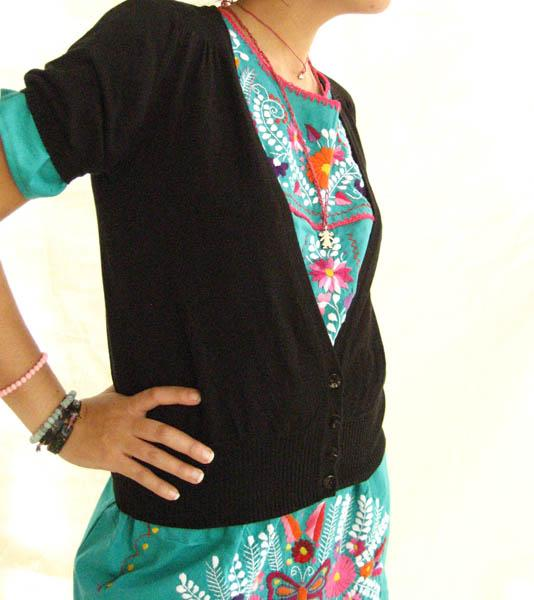 Mexican embroidered Dress Green Jade Peace