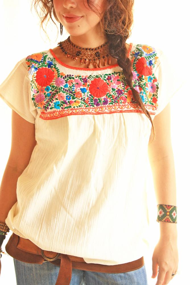 Flores Rojas folk Mexican embroidered tunic blouse