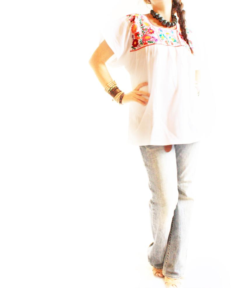 Summer days Mexican embroidered floral blouse