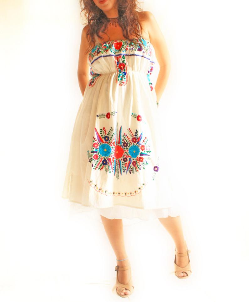 El Amor embroidered bohemian ethnic maxi dress