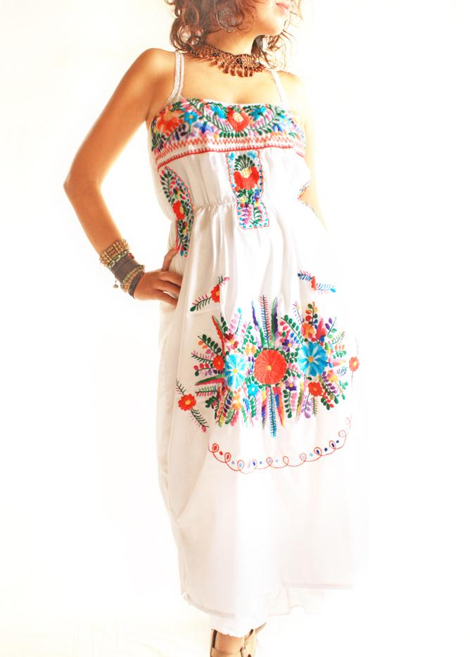 Peace floral Mexican embroidered strapless dress