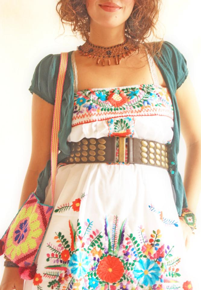 Peace floral Mexican embroidered strapless bubble top dress