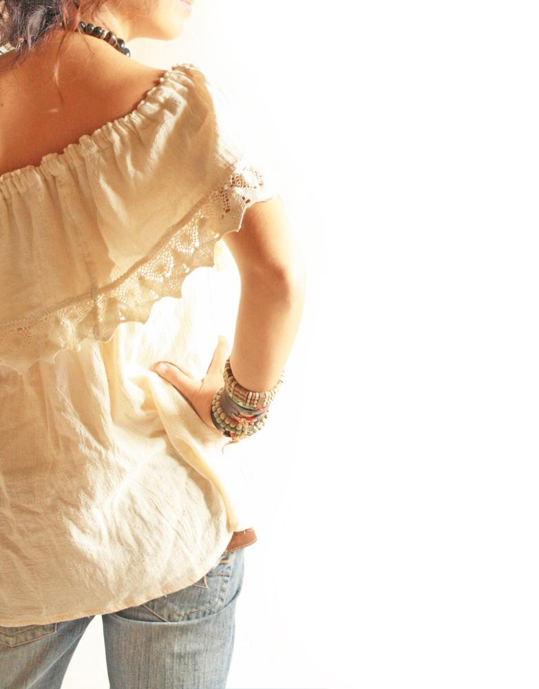 Sarita off shoulder Mexican boho crochet blouse