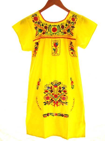 Mexican embroidered Dress Lemon Amor Amarillo