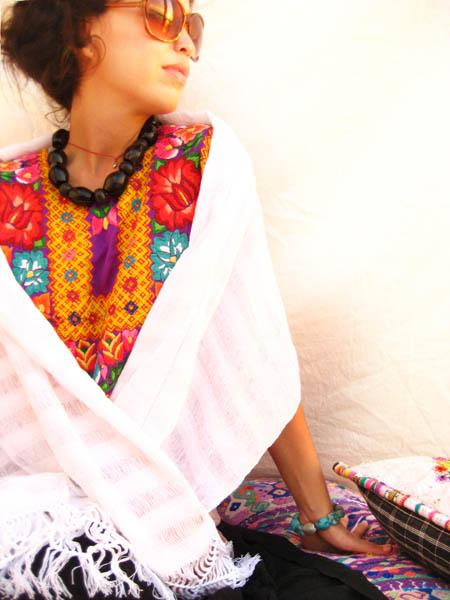 Mexican gypsy shawl Rebozo White peace
