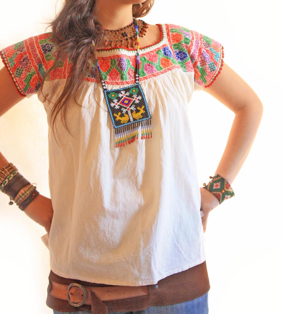 Peace colors fine indie embroidered blouse