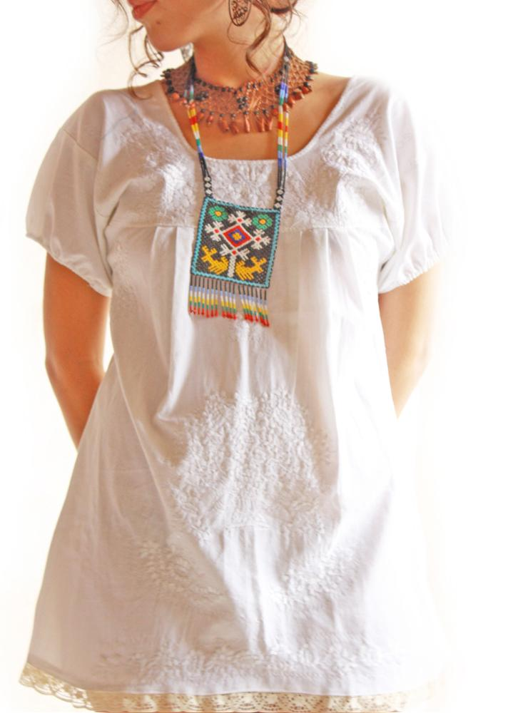 Maya white silk & crochet lace ethnic embroidered mini tunic