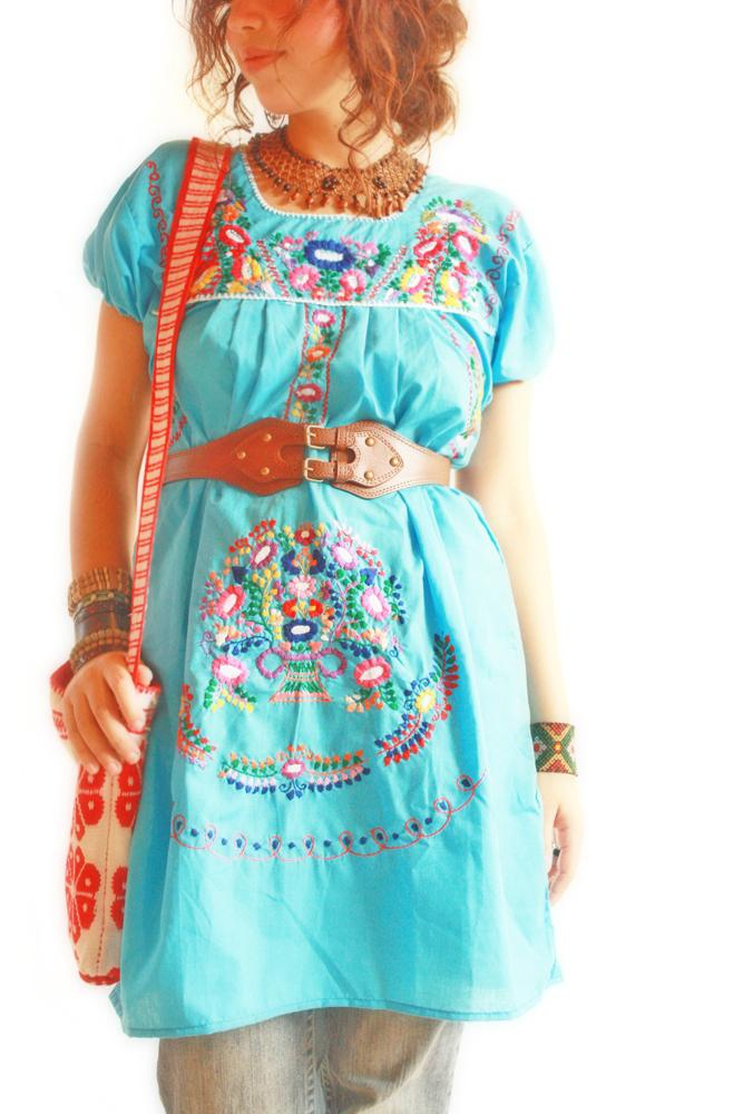 Ocean blue peace Mexican embroidered boho tunic dress