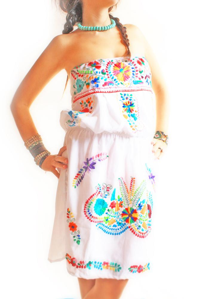 Mexican embroidered 80's bubble top dress