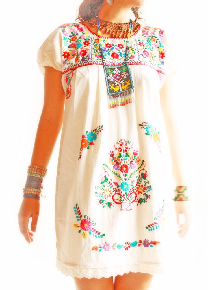 Beautiful Mexican Off Shoulder Dress Colorful Floral W Embroidered Belt