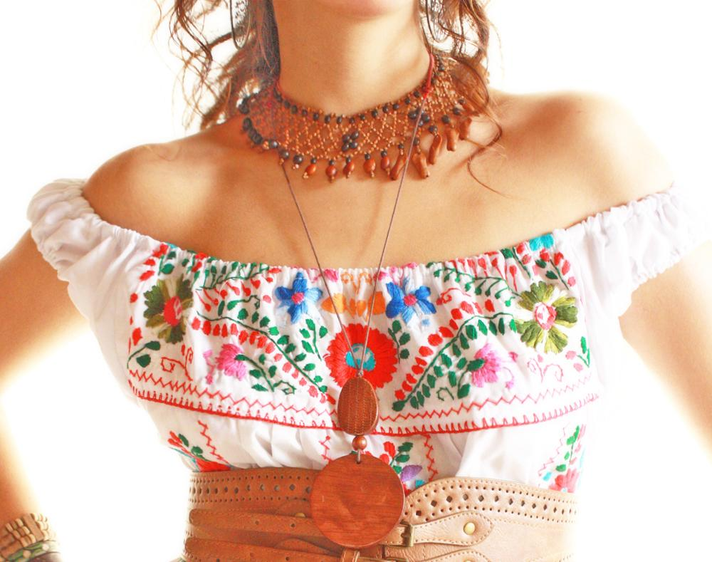 Nubes off shoulder Mexican embroidered dress