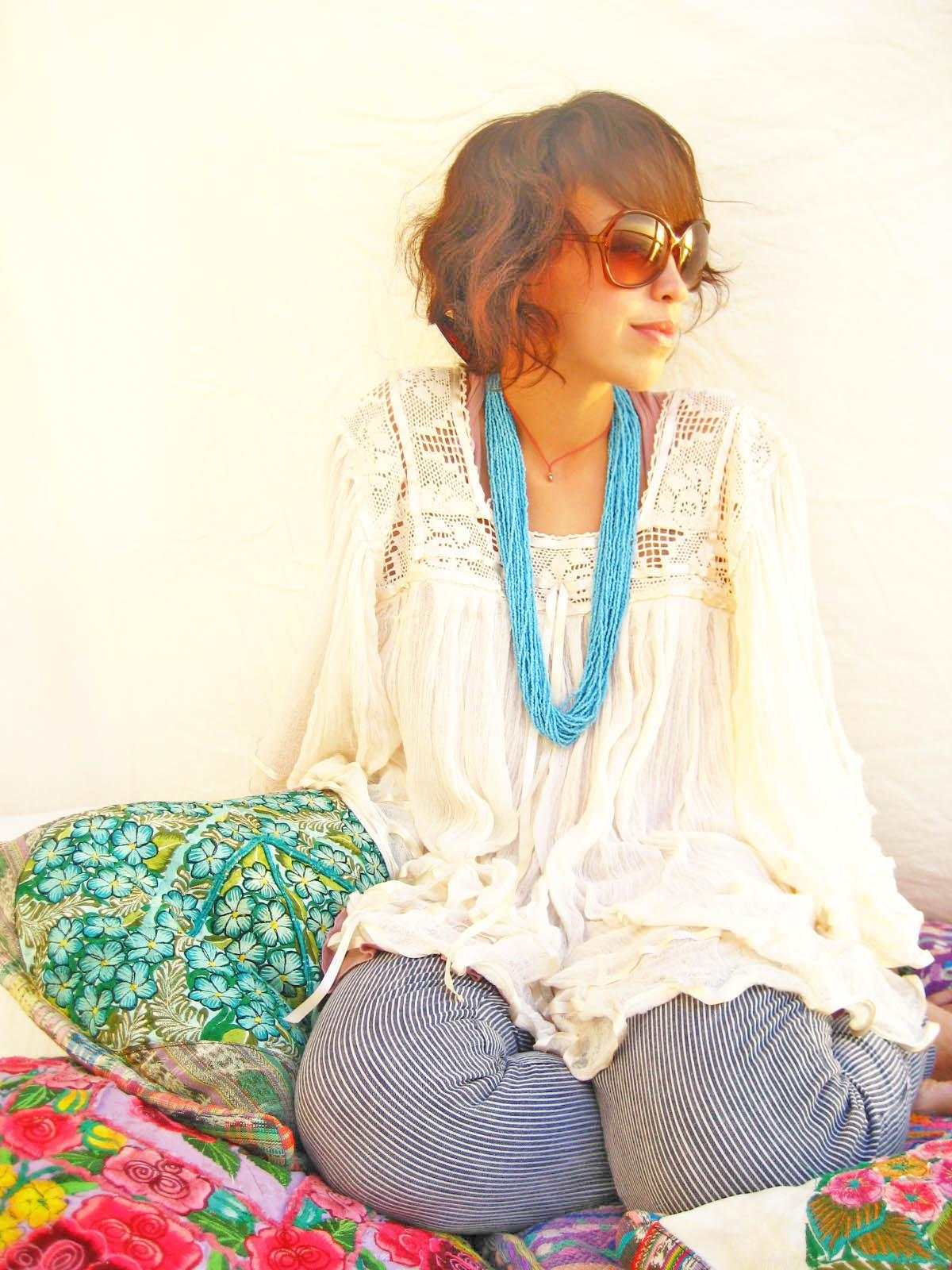 Butterfly sleeves Mexican romantic crochet tunic