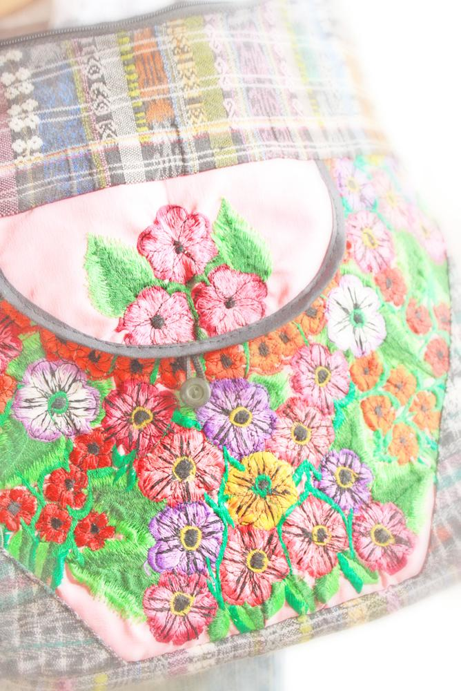 Gypsy Pink floral Mexican embroidered bag