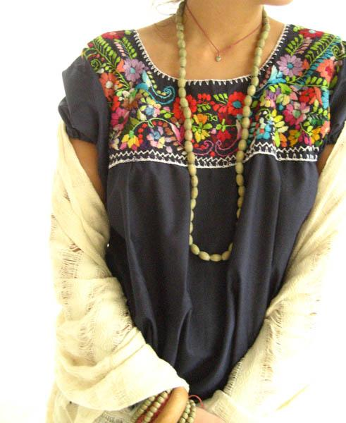 Mexican embroidered blouse top