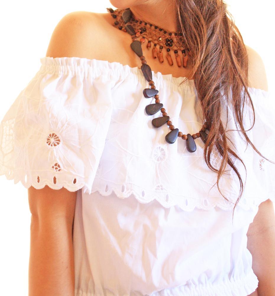 Eyelet vintage romantic Off Shoulder Mexican blouse