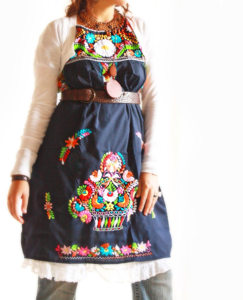 Deep Navy Mexican embroidered floral dress