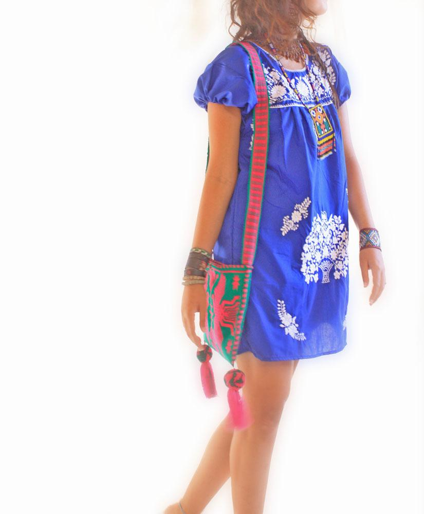 Royal blue and white Mexican embroidered dress