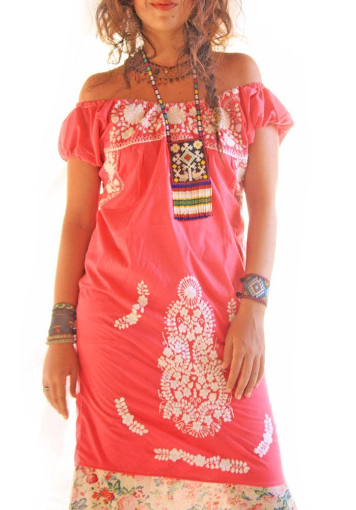 Rosa Mexican off shoulder embroidered dress