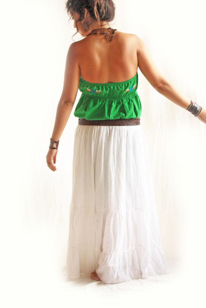 Mexican Jade Dress Strapless Mexico embroidered boho hippie dress