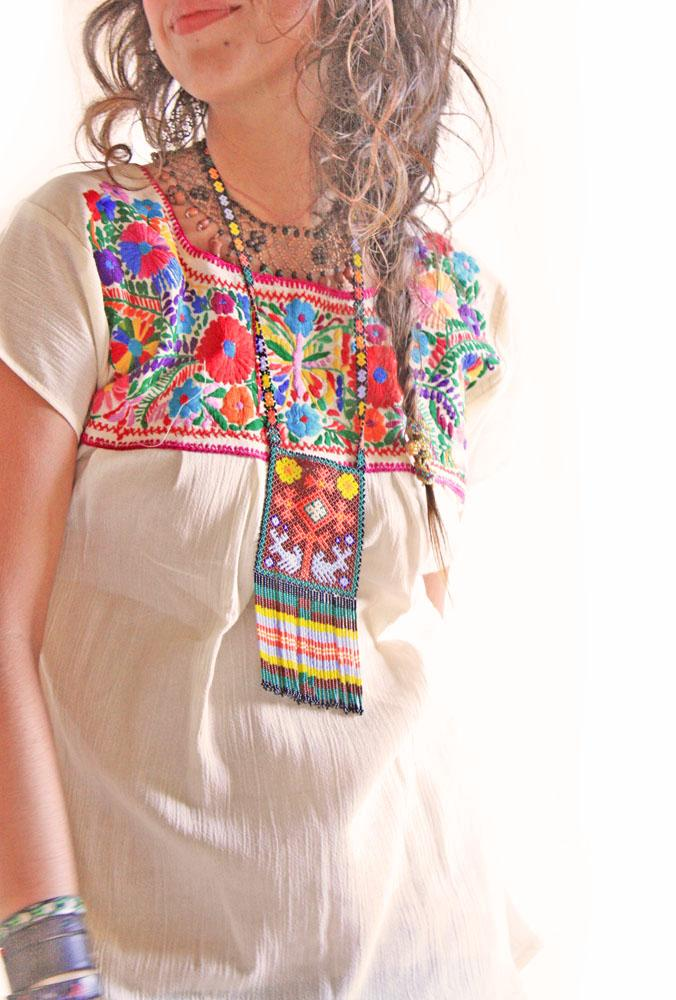 Mexican Blouse Embroidered Butterfly