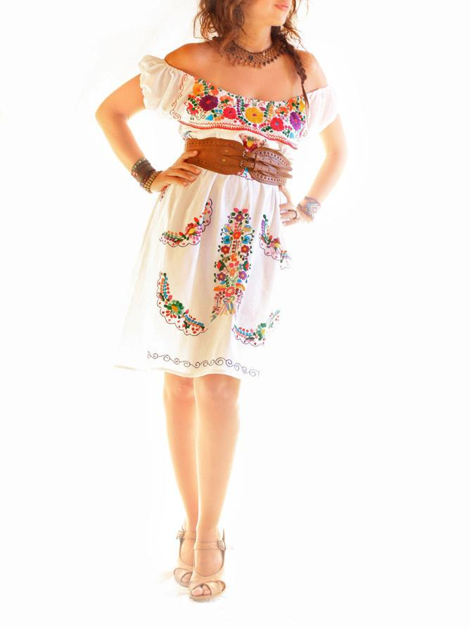 Floral off shoulder embroidered dress from Mexico