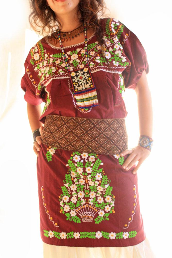 Wine and flowers Mexican embroidered dress