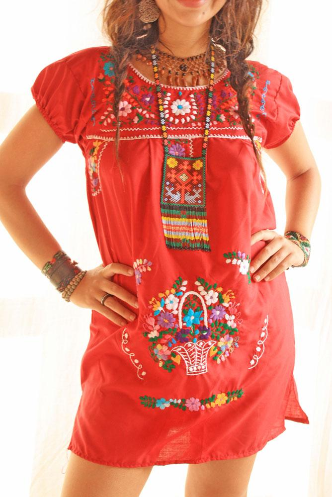 Red Mexican Dress Short Embroidered
