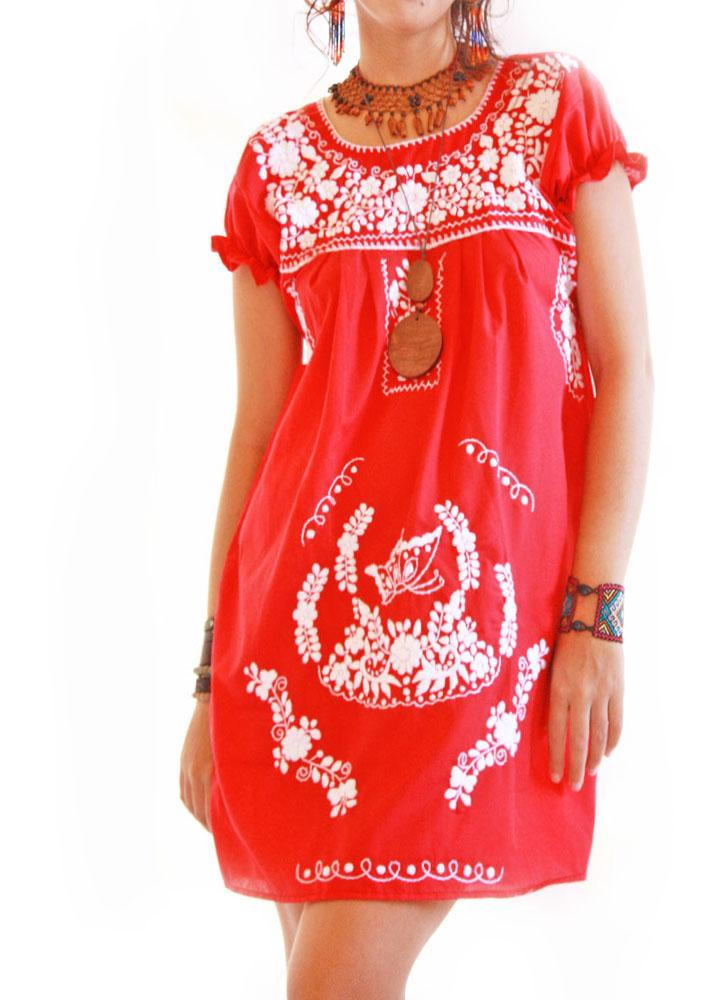 Peace Butterfly vintage boho red Mexican dress