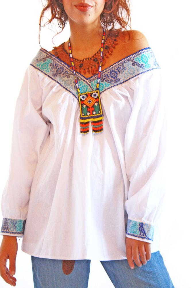 Flores Azules Mexican fine embroidered blouse