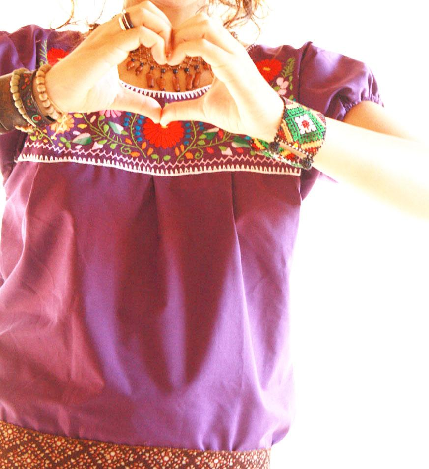 Joy Colors Mexican embroidered tunic blouse