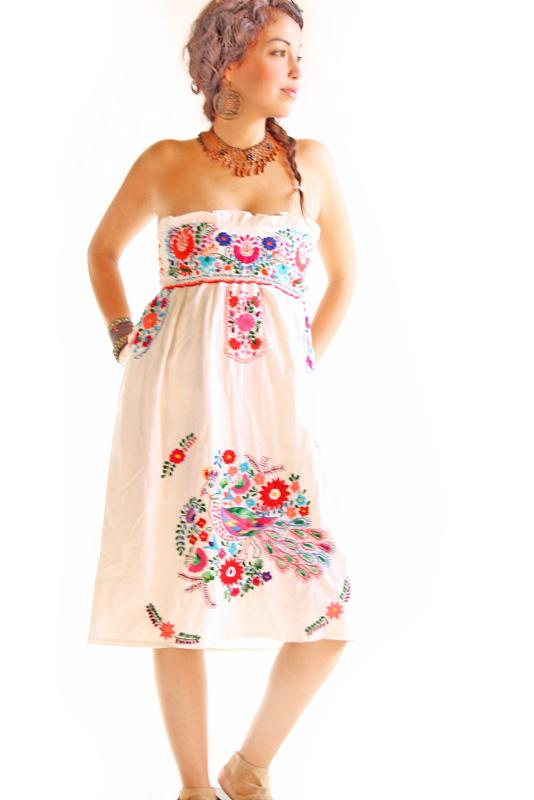 Peacock corset strapless Mexican embroidered boho hippie dress