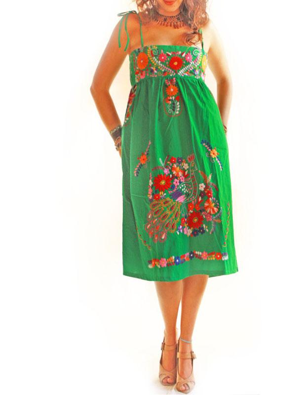 Green Mexican embroidered tunic dress