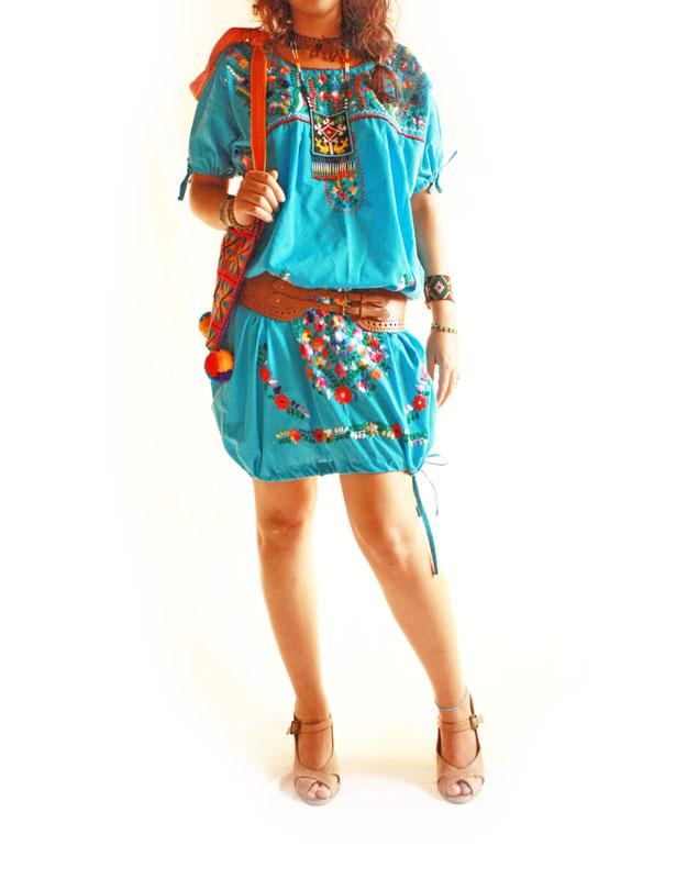 Ocean blue Mexican embroidered tunic dress