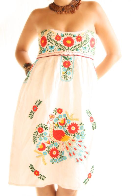 Birds And Flowers Mexican Dress