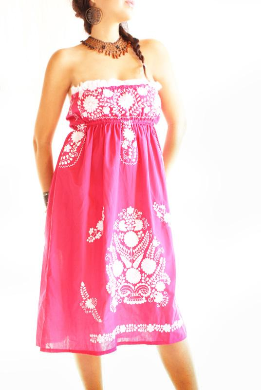 Mexican Dress Rosa embroidered boho chic dress strapless