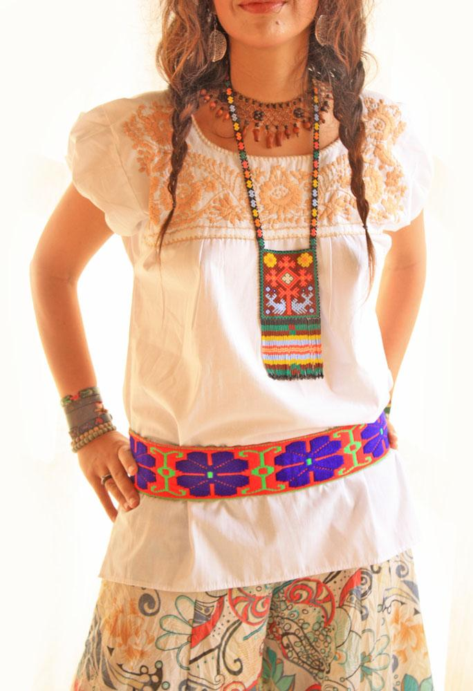 White Old gold Mexican embroidered tunic blouse
