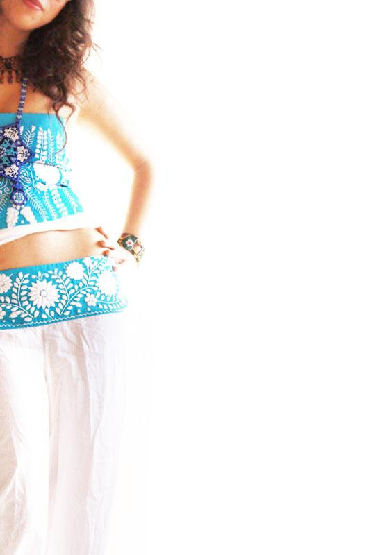Turquoise Skywalker Mexican Pants Skirt