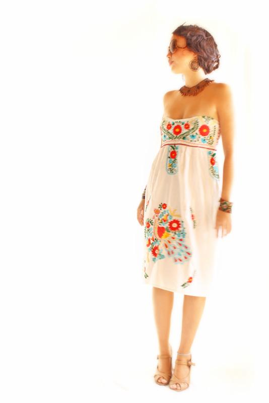 Mexican Dress Strapless Embroidered Fiesta Flowers