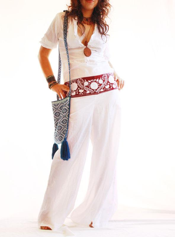 Wine Peace embroidered skywalker wide leg cotton pants