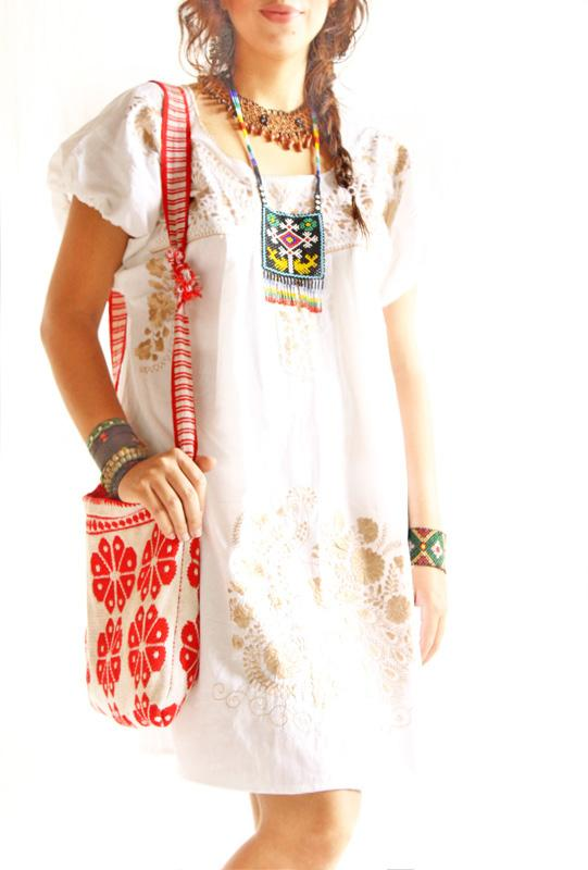 Old Gold silk embroidered Mexico tunic dress