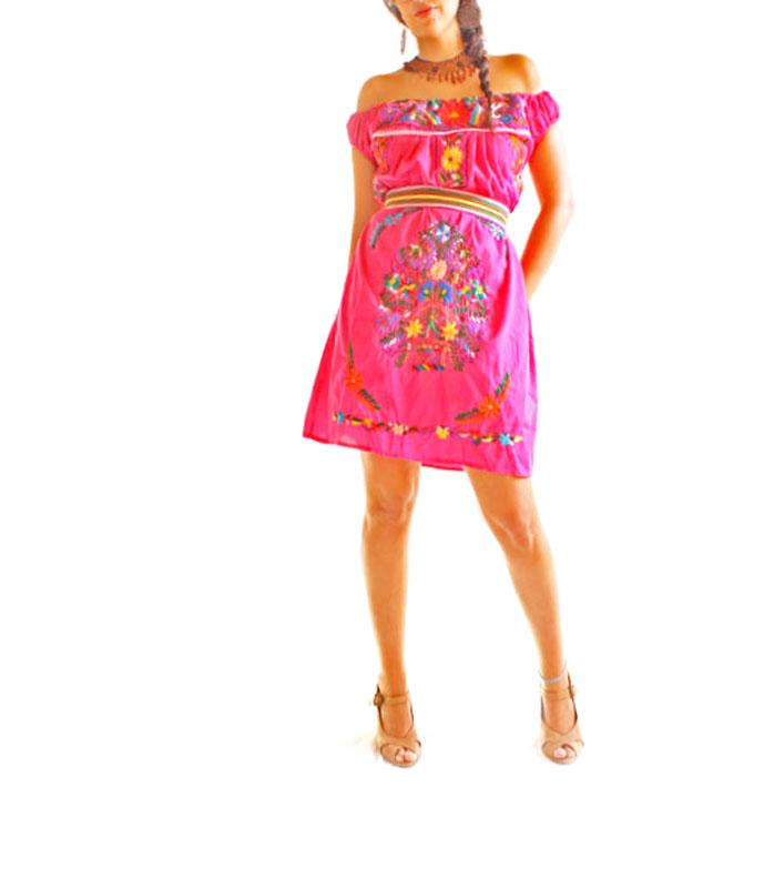 Sweet days pink off shoulder Mexican embroidered dress