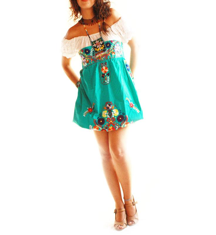 Strapless Mexican Dress Hand Embroidered