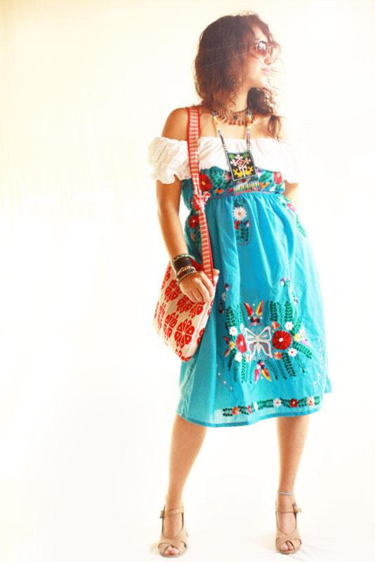 Mexican Dress Vintage Butterfly Azul embroidered strapless dress