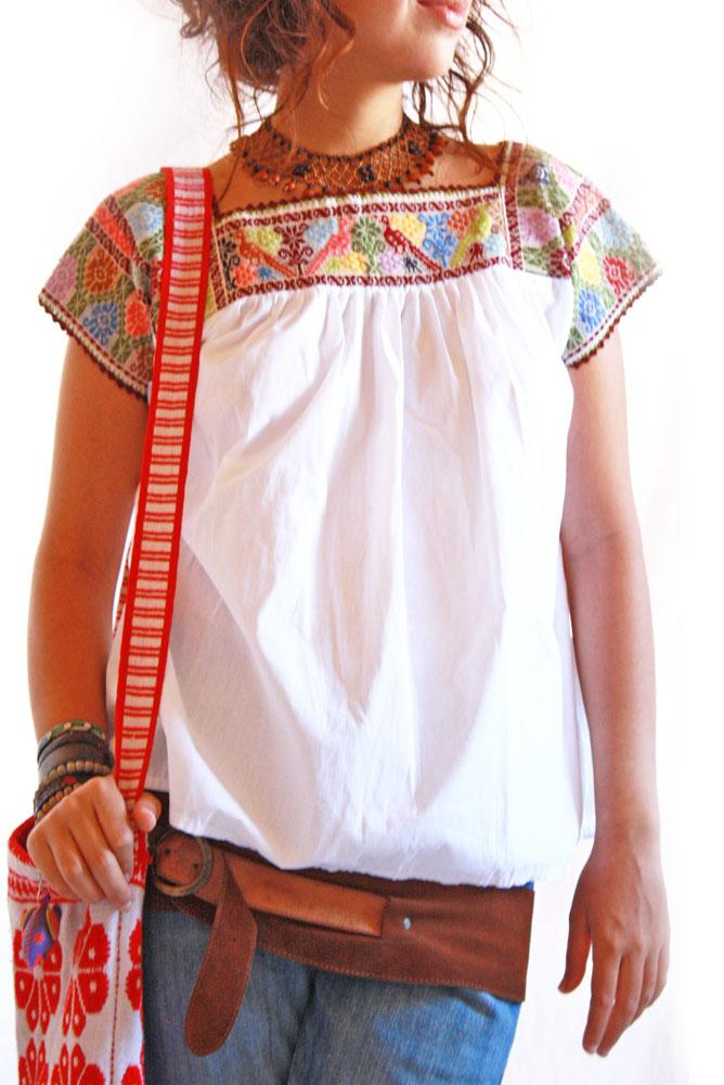 Birds Vintage Mexican Blouse Tunic 1960