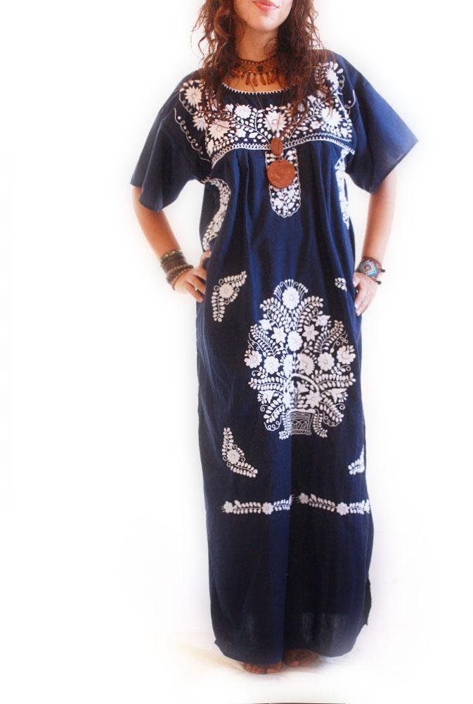 Blue Moon Mexican Embroidered Vintage Dress