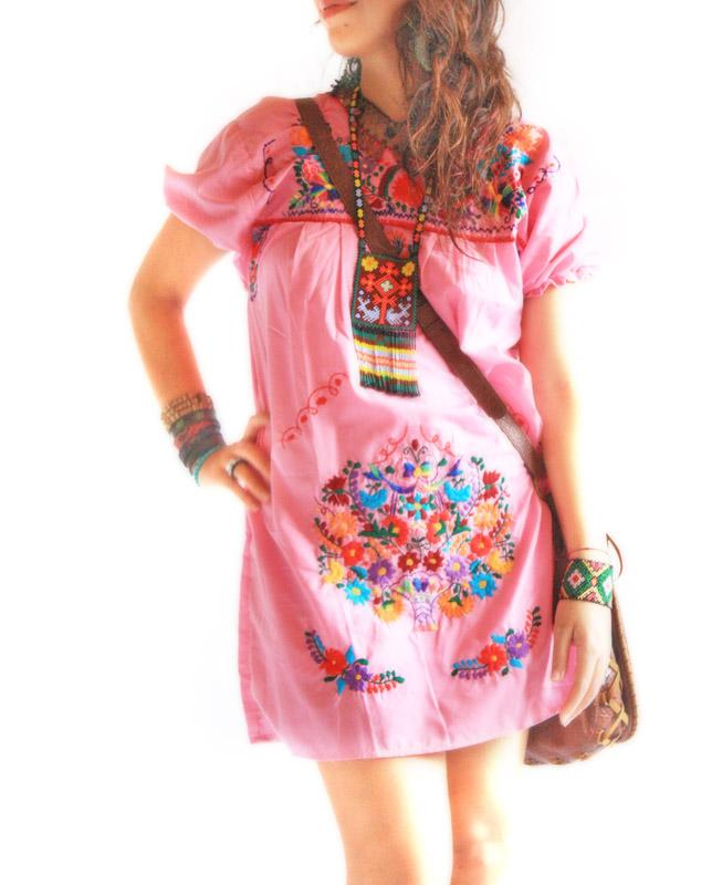 Mexican embroidered tunic hippie mini dress